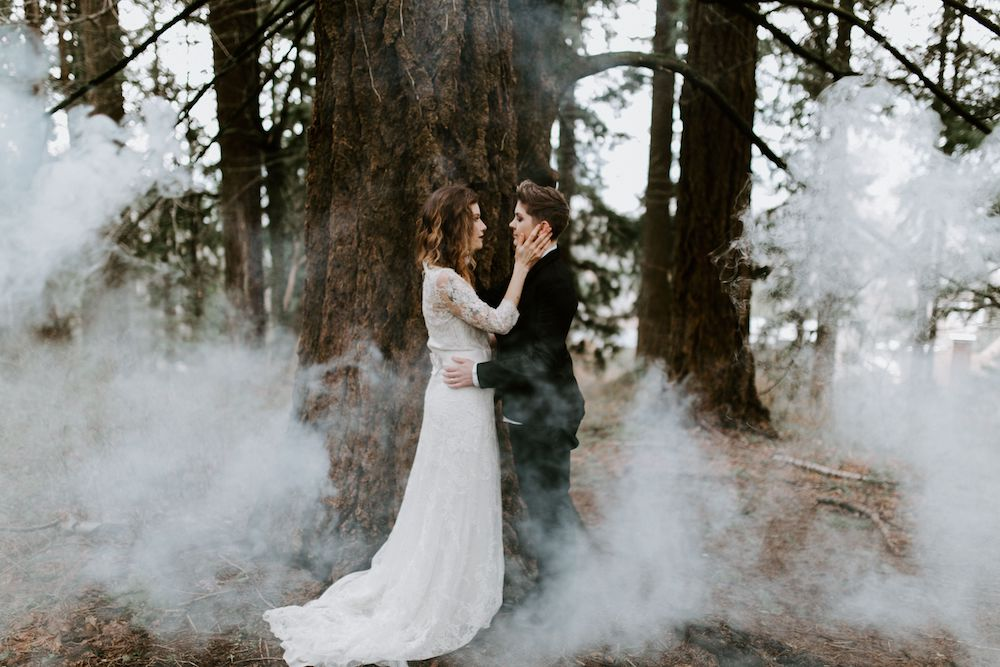 Gothic inspired elopement, Portland.